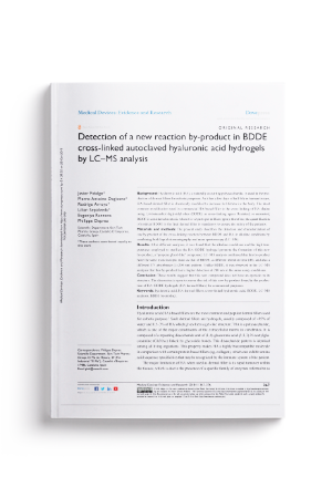 Detection of a new reaction by product in BDDE cross linked autoclaved hyaluronic acid hydrogels by LC MS analysis